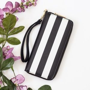 Handbags - Black & White Striped Wallet